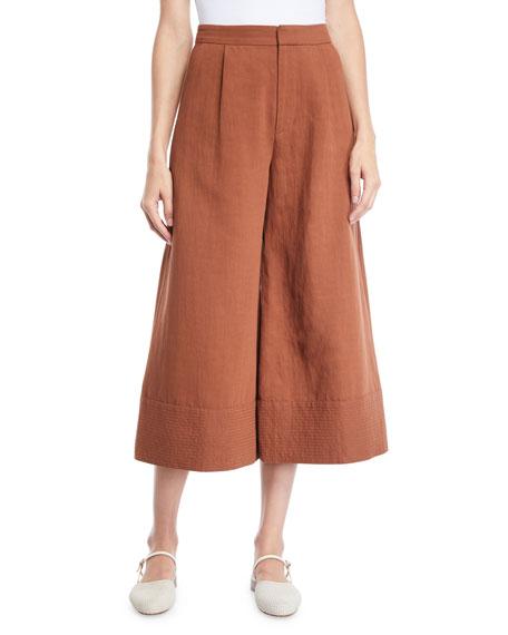 Co Wide-Leg Cropped Pants w/ Trapunto Hem