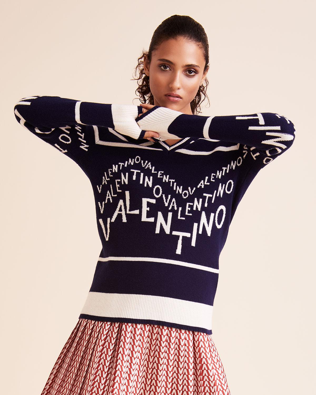 967f216bc2ab39 Valentino V-Neck Chevron-Logo Wool-Cashmere Sweater | Neiman Marcus