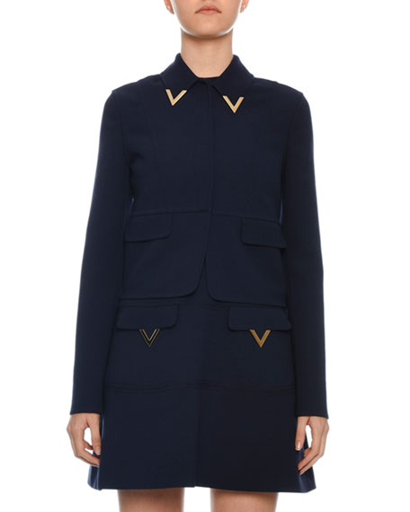 Valentino One-Button Logo Hardware Double Crepe Wool Jacket