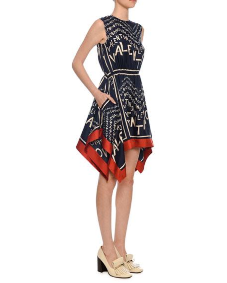 Valentino Sleeveless Logo Puzzle-Print Silk Twill Dress w/ Scarf Hem