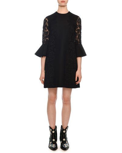 Jewel-Neck 3/4 Flutter Cuff Crepe Couture Dress