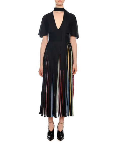 Valentino Short-Sleeve Knit Midi Dress with Rainbow Inset
