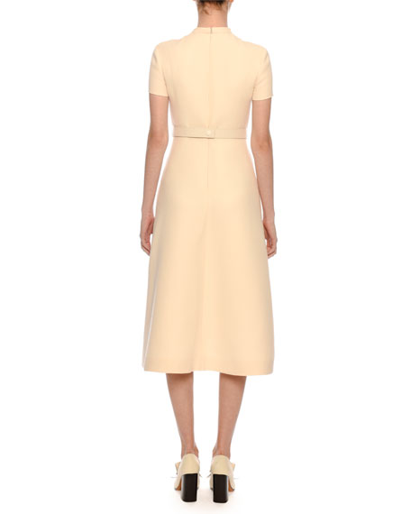 Image 2 of 3: Short-Sleeve Button-Bib A-Line Crepe Midi Dress w/ V-Logo Belt
