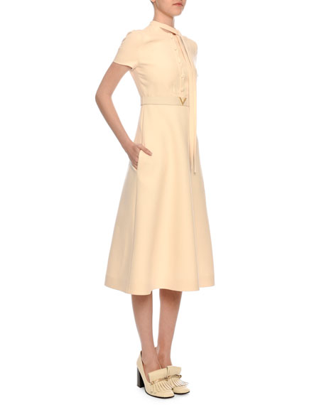 Image 3 of 3: Short-Sleeve Button-Bib A-Line Crepe Midi Dress w/ V-Logo Belt