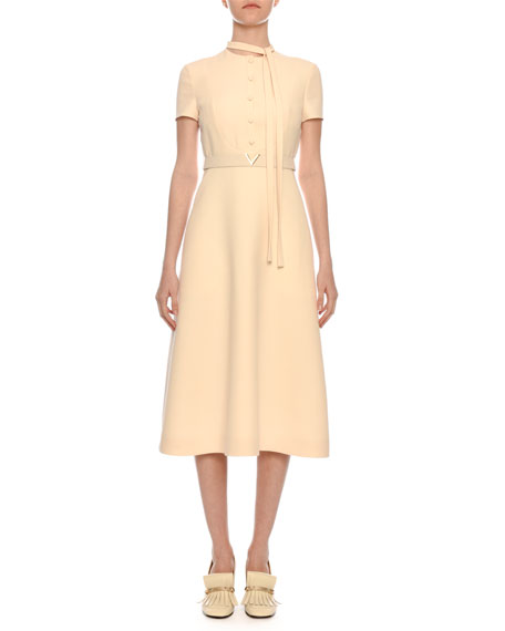 Image 1 of 3: Short-Sleeve Button-Bib A-Line Crepe Midi Dress w/ V-Logo Belt