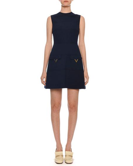 Valentino Sleeveless A-Line Crepe Wool Mini Dress w/ Hardware Pockets