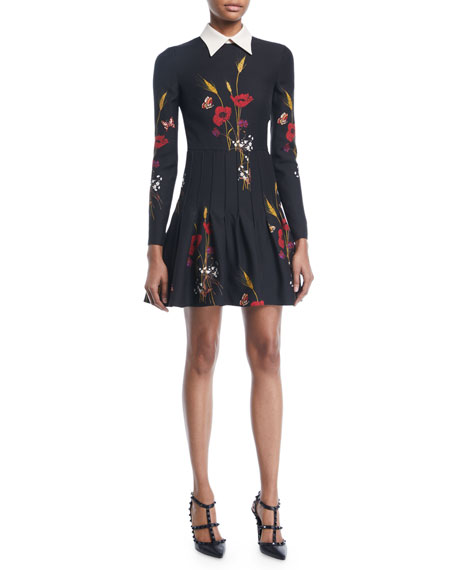 Valentino Long-Sleeve Collared Floral-Meadow A-Line Dress