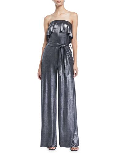 Julie Ruffle Strapless Wide-Leg Metallic-Jersey Jumpsuit