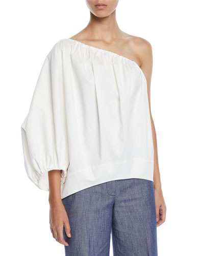 One-Shoulder Puff-Sleeve Cotton Sateen Blouse