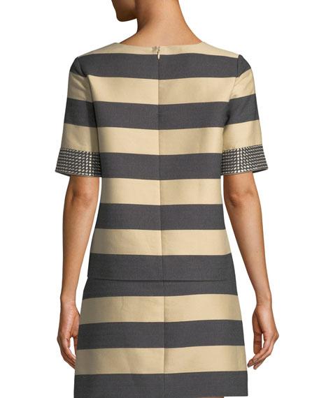 Derek Lam Studded Short-Sleeve Awning-Stripe Cotton Top