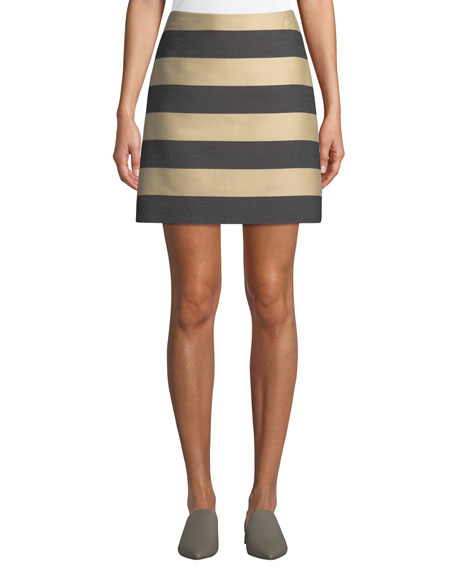 Derek Lam Awning-Stripe A-Line Mini Skirt