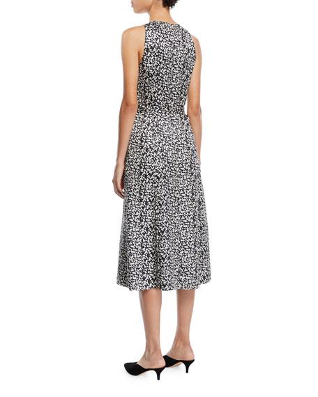 Derek Lam Sleeveless Poppy-Print Silk A-Line Dress w/ Ties