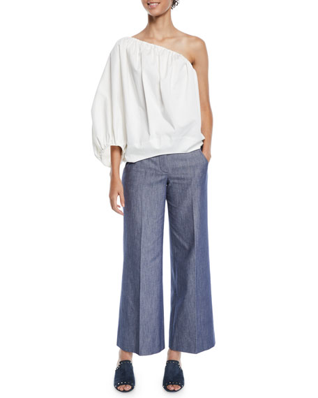 Derek Lam Wide-Leg Denim Culotte Pants