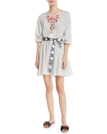 Figue Edette Embroidered Pinstriped Peasant Dress