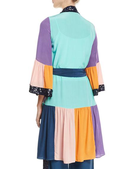 Figue Nisha Colorblocked Sequin-Trim Peplum-Hem Kimono