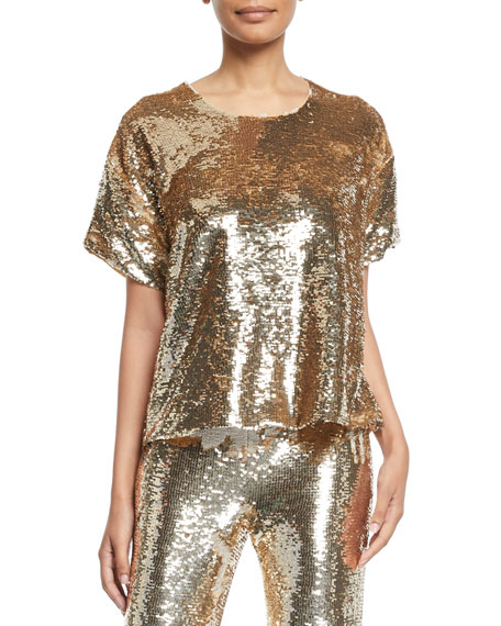 Figue LAYLA SHORT-SLEEVE SEQUIN BLOUSE