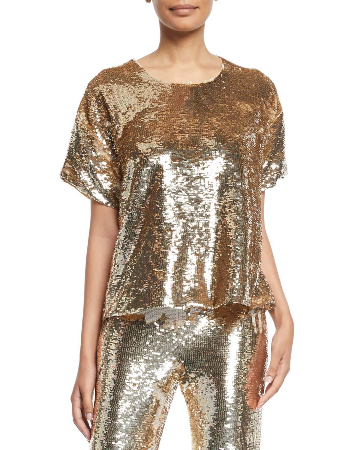 Figue Layla Short-Sleeve Sequin Blouse  357ba3209