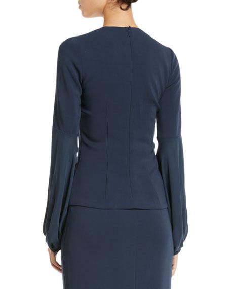 CUSHNIE Crewneck Silk Blouson-Sleeve Top