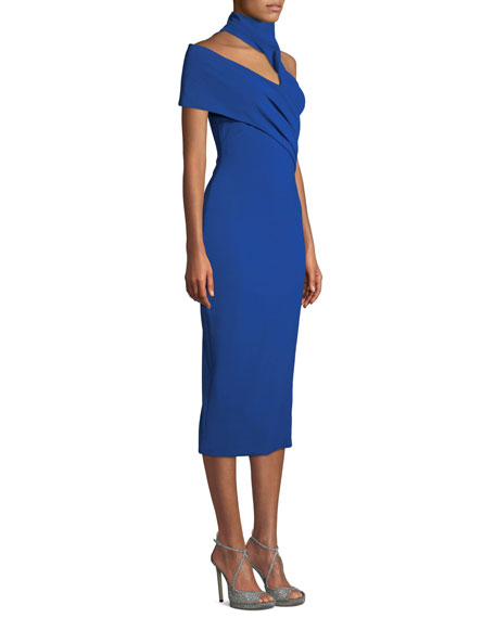CUSHNIE Mock-Neck Sleeveless Pencil Midi Cocktail Dress w/ Arm Band Detail