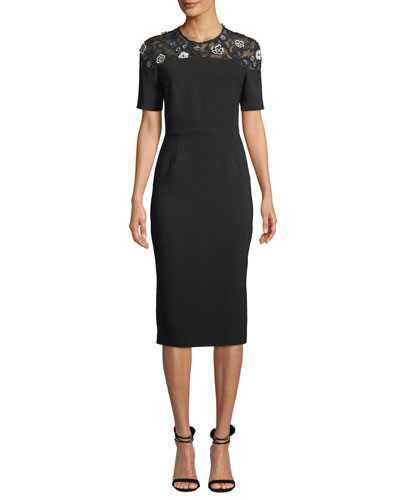 Floral Lace-Yoke Short-Sleeve Fitted Sheath Cocktail Dress
