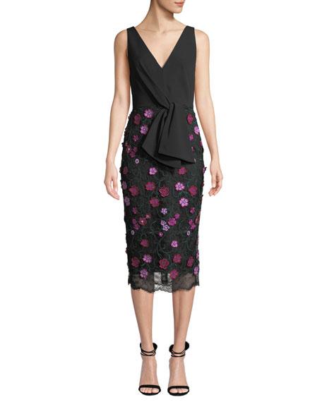 Lela Rose V-Neck Sleeveless Tie-Front Dress w/ Floral Lace Skirt