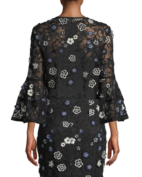 Lela Rose Full-Sleeve Tie-Neck Floral-Lace Cocktail Bolero Jacket