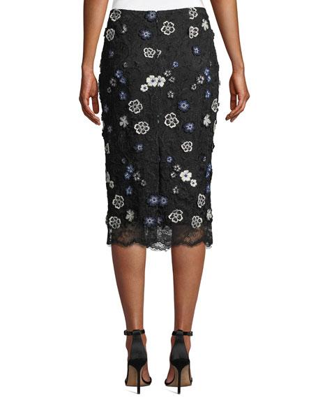 Lela Rose Floral-Lace Knee-Length Pencil Cocktail Skirt