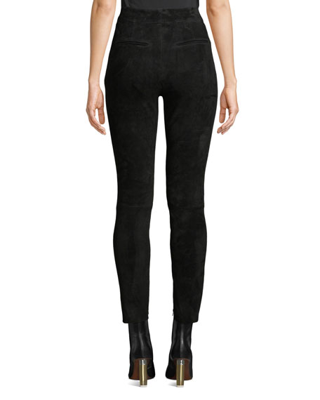 Nour Hammour High-Waist Studded Suede Skinny-Leg Jeans