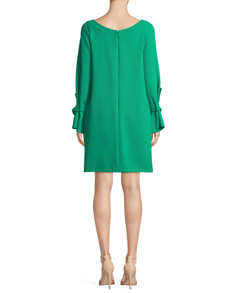 Image 2 of 3: Lela Rose Boat-Neck Tie-Cuff Long-Sleeve Crepe Tunic Dress