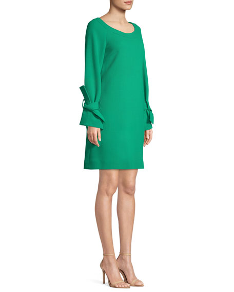 Image 3 of 3: Lela Rose Boat-Neck Tie-Cuff Long-Sleeve Crepe Tunic Dress