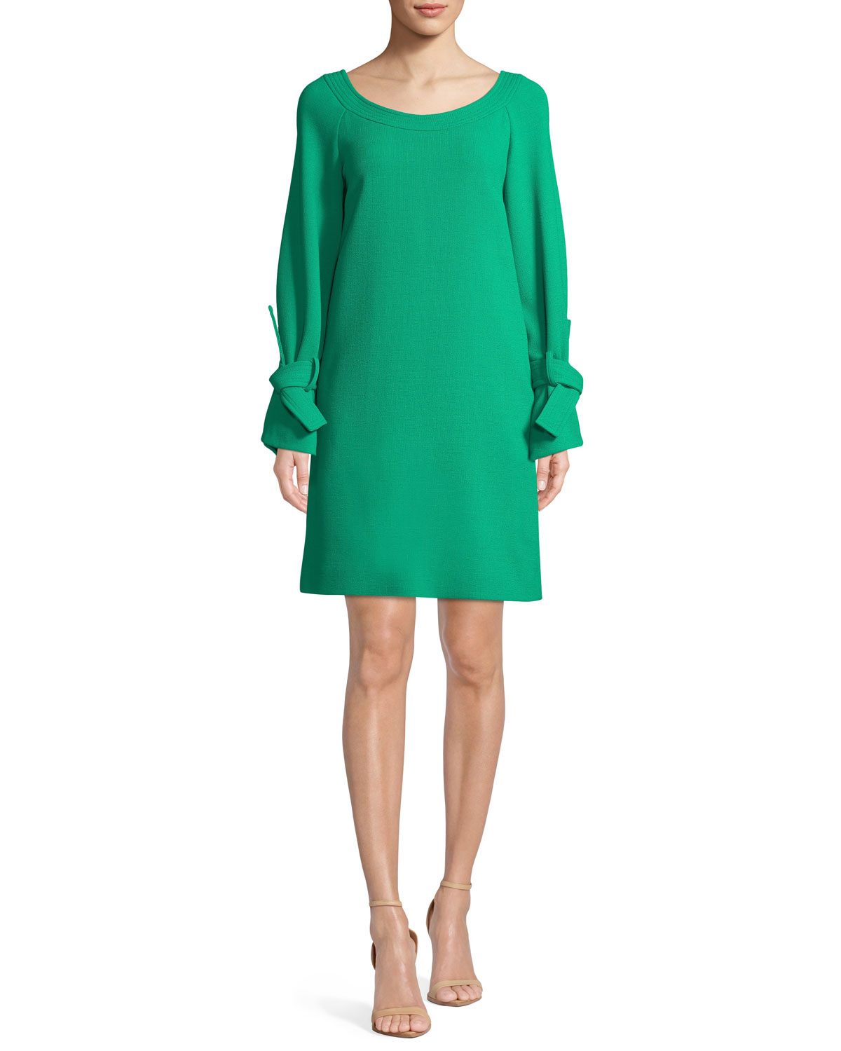 Lela Rose Boat-Neck Tie-Cuff Long-Sleeve Crepe Tunic Dress