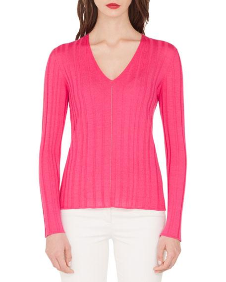 Akris Fine-Ribbed V-Neck Sweater
