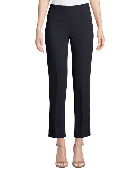 Lela Rose Button-Placket Straight-Leg Stretch-Wool Pants