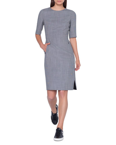 Elbow-Sleeve Wool-Blend Sheath Dress w/ Side Slits