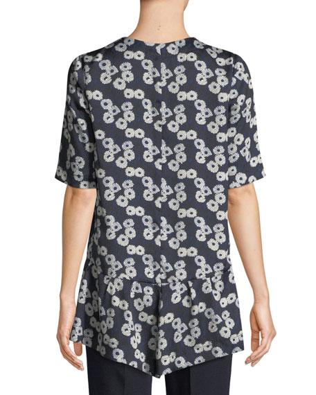 Lela Rose V-Neck Short-Sleeve Floral-Print Flounce-Hem Top
