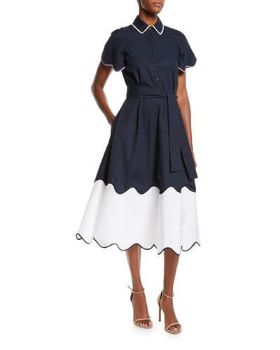 Wave-Print Short-Sleeve Collared Cotton Midi Shirtdress