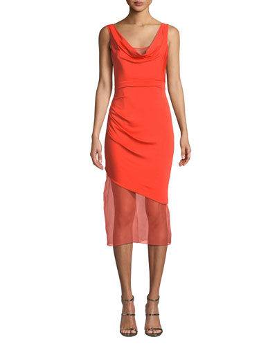 Sleeveless Cowl-Neck Matte Jersey Body-Con Dress w/ Organza