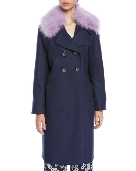 Lela Rose Double-Breasted Coat With Detachable Fur Collar