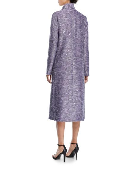 Lela Rose Tie-Neck Sequin-Embroidered Tweed Coat