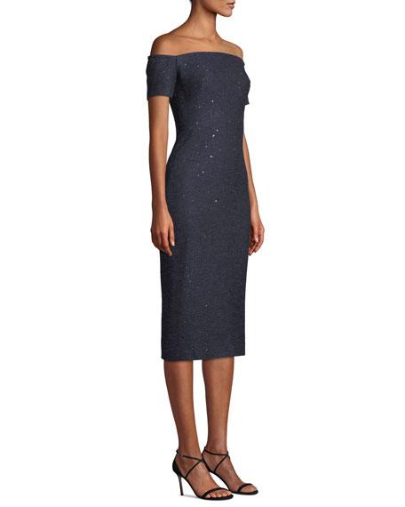 Lela Rose Off-the-Shoulder Sequin Tweed Cocktail Dress