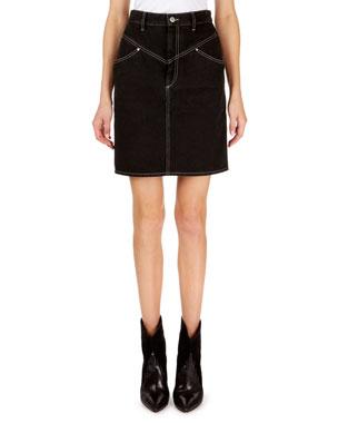 7848de1b8a08fa Isabel Marant Lorine Stitched Denim Pencil Skirt