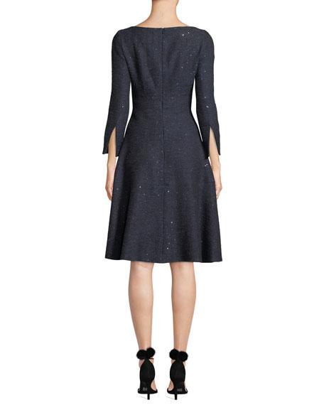 Lela Rose Boat-Neck Slit-Cuffs Fit-and-Flare Sequin Tweed Cocktail Dress
