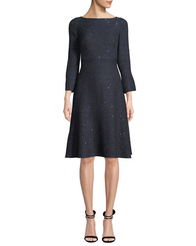 Boat-Neck Slit-Cuffs Fit-and-Flare Sequin Tweed Cocktail Dress
