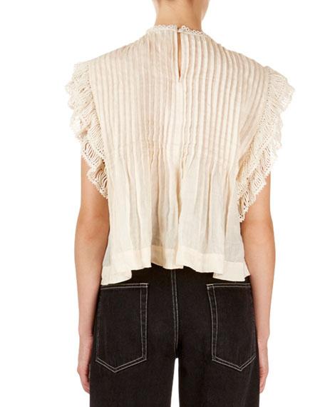 Isabel Marant Roya Sleeveless Lattice-Lace Neck Blouse