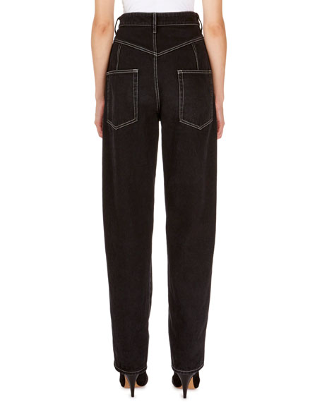 Isabel Marant Lorricka High-Waist Contrast-Stitched Jeans