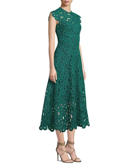 d942c5945f Lela Rose Circle-Guipure Lace Cap-Sleeve A-Line Midi Dress