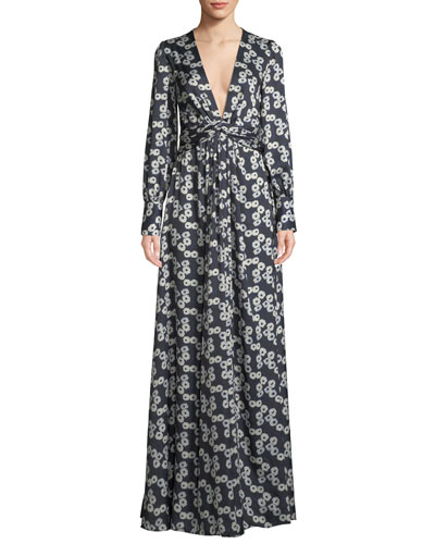 V-Neck Long-Sleeve Floral-Print A-Line Evening Gown