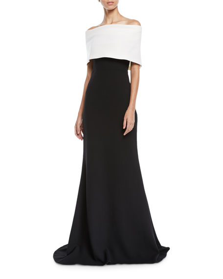 Lela Rose Off-the-Shoulder Monotone Trumpet Evening Gown