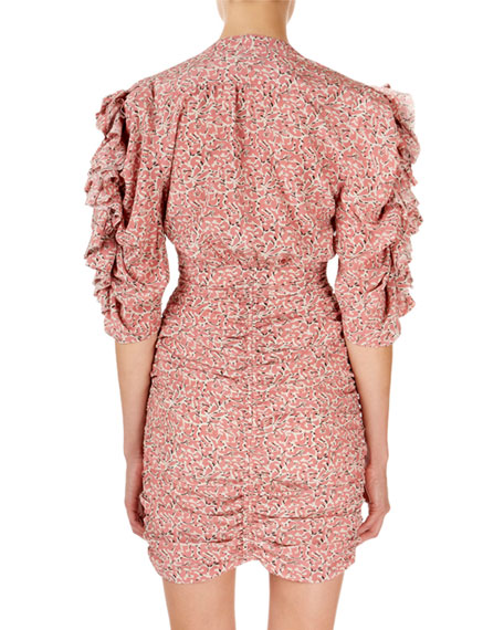 Image 2 of 2: Isabel Marant Andor Floral Ruched-Seam Mini Dress