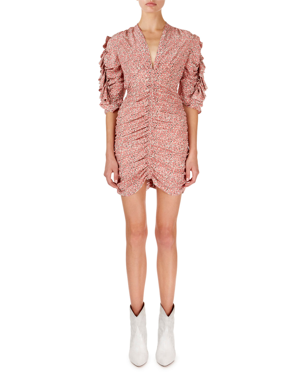 Isabel Marant Andor Floral Ruched-Seam Mini Dress